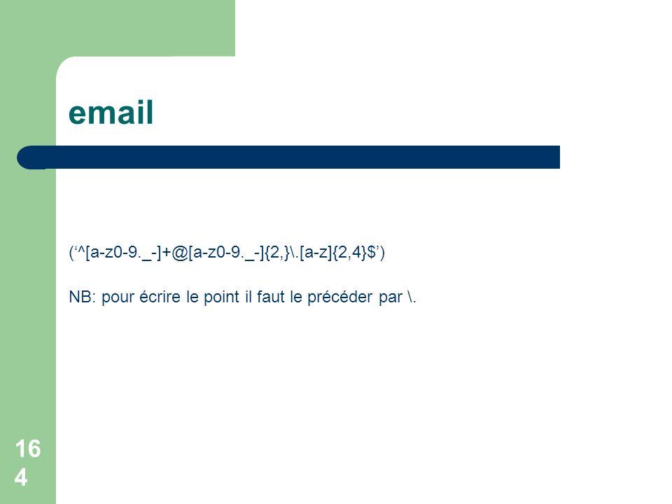 email ('^[a-z0-9._-]+@[a-z0-9._-]{2,}\.[a-z]{2,4}$')